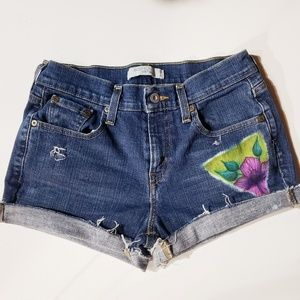 Levi's hand painted flower high waist jean shorts